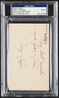 Autographs:Post Cards, 1945 Tony Lazzeri Signed Government Postcard, PSA/DNA Near Mint 7....