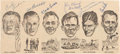 Football Collectibles:Others, 1965 Green Bay Packers Hall of Famers Multi-Signed Newspaper Photograph - With Curly Lambeau! ...