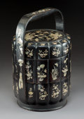 Carvings, A Chinese Lacquered Wood and Mother-of-Pearl Inlay Stacking Box, Qing Dynasty, Kangxi Period. 15-3/4 x 10-3/4 inches (40.0 x...