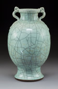 Ceramics & Porcelain:Chinese, A Chinese Ge-Type Ovoid Vase with Twin Qilong Handles, 18th century. 15-1/2 x 10 x 10 inches (39.4 x 25.4 x 25.4 cm). ...