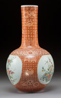 Ceramics & Porcelain:Chinese, A Large Chinese Iron Red Decorated, Partial Gilt, and Enameled Porcelain Vase, Republic Period. Marks: Six-character Kangxi ...