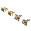 Estate Jewelry:Cufflinks, Diamond, Jadeite Jade, Gold Cuff Links . ... (Total: 2 Items)