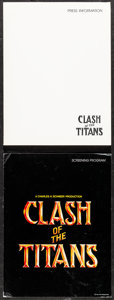 """Movie Posters:Fantasy, Clash of the Titans & Other Lot (MGM, 1981). Very Fine-. Presskit (9"""" X 12"""") with Photos (3) & Programs (2) (Multiple Pages,... (Total: 3 Items)"""