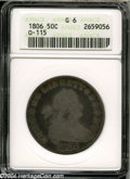 Early Half Dollars: , 1806 50C Pointed 6, Stem Good 6 ANACS....
