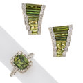 Estate Jewelry:Lots, Green Sapphire, Tourmaline, Diamond, Gold Jewelry . ... (Total: 2 Items)