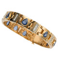 Estate Jewelry:Bracelets, Sapphire, Diamond, Gold Bracelet, Linda Joslin. ...
