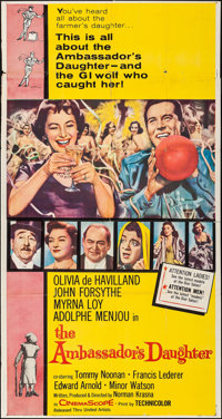 """The Ambassador's Daughter (United Artists, 1956). Folded, Fine+. Three Sheet (41"""" X 77""""). Comedy"""
