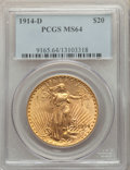 1914-D $20 MS64 PCGS. PCGS Population: (3030/1336). NGC Census: (2045/726). CDN: $1,527.51.Whsle. Bid for problem-free N...