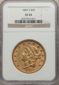Liberty Double Eagles: , 1869-S $20 XF45 NGC. NGC Census: (250/1170). PCGS Population: (266/849). XF45. Mintage 686,750. . From The Pelican Coll...