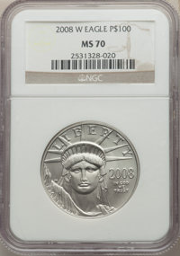 2008-W $100 One-Ounce Platinum Eagle, Burnished, MS70 NGC. NGC Census: (862). PCGS Population: (324). CDN: $3,500 Whsle...