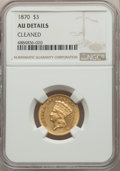 Three Dollar Gold Pieces: , 1870 $3 -- Cleaned -- NGC Details. AU. NGC Census: (16/213). PCGS Population: (33/166). CDN: $1,600 Whsle. Bid for problem-...