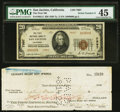 National Bank Notes:California, San Jacinto, CA - $20 1929 Ty. 2 The First NB Ch. # 7997 PMG Choice Extremely Fine 45.. ... (Total: 2 items)