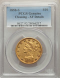 1858-S $10 -- Cleaning -- PCGS Genuine. XF Details....(PCGS# 8627)