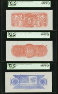 Confederate Notes:Group Lots, Complete Denomination Set of Confederate Chemicograph Fourth Printing Reverse 1 Backs $500; $100; $50; $20; $10; $5 circa 1957... (Total: 6 notes)