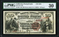 California, PA - $20 1882 Brown Back Fr. 499 The First NB Ch. # 4622 PMG Very Fine 30