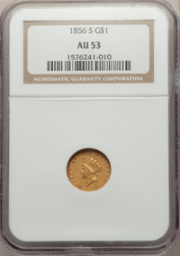 1856-S G$1 Type Two AU53 NGC. NGC Census: (25/150). PCGS Population: (17/91). CDN: $2,000 Whsle. Bid for NGC/PCGS AU53...