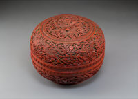 An Imperial Chinese Carved Three-Color Lacquer Nine Dragons Box and Cover, Qing Dyna