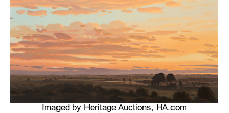 David Caton (American, b. 1955) Sunset in the Lowlands Oil on canvas 32 x 64 inches (81.3 x 162.6 cm) Signed lower r...