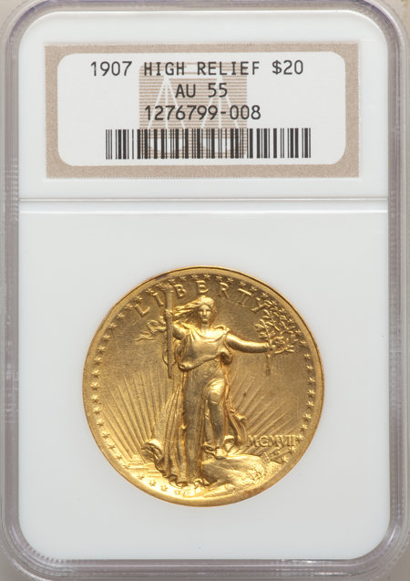1907 $20 High Relief, Wire Rim 55 NGC