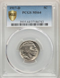 1917-D 5C MS64 PCGS. PCGS Population: (381/218). NGC Census: (223/56). CDN: $700 Whsle. Bid for problem-free NGC/PCGS MS...