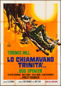"Movie Posters:Western, They Call Me Trinity (Delta, 1970). Folded, Fine+. Italian 4 - Fogli (55"" X 78.25"") Renato Casaro Artwork. Western.. ..."