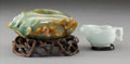 Carvings, Two Chinese Jadeite Vessels, Qing Dynasty. 2-7/8 x 5 x 4-1/4 inches (7.3 x 12.7 x 10.8 cm) (larger). ... (Total: 2 Items)