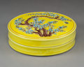 Ceramics & Porcelain, A Chinese Yellow Ground Porcelain Covered Box. 1-3/8 x 4-5/8 inches (3.4 x 11.7 cm). ...