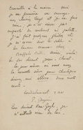 Books:Manuscripts, Paul Gauguin. Autograph Letter Signed. . ...