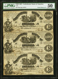 Confederate Notes:1861 Issues, CT13/57A Counterfeit $100 1861 Uncut Sheet of Three. PMG About Uncirculated 50 .. ...