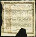 Colonial Notes:Massachusetts, Massachusetts Interest Due Treasury Certificate £13.13s.6d Dec. 7, 1783 Anderson MA-34 Extremely Fine.. ...