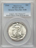 Errors, 1944 50C Walking Liberty -- Struck Thru Reverse 5:00 -- AU58 PCGS....