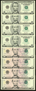 Fr. 1989-G* $5 2003 Federal Reserve Star Note. Choice Crisp Uncirculated; Fr. 1991-B* $5 2003A Federal Reserve