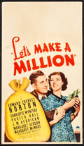 """Movie Posters:Comedy, Let's Make a Million (Paramount, 1936). Fine/Very Fine. MidgetWindow Card (8"""" X 14""""). Comedy.. ..."""