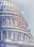 Works on Paper:Watercolor, Linda Southern (American, 20th century). Capitol. Watercolor. 30 x 22 inches (76.2 x 55.9 cm). Signed lower left: Sout...