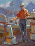 Paintings:Contemporary   (1950 to present), Glen Spencer Hopkinson (American, b. 1946). Modern Driller. Oil on canvas. 13 x 10 inches (33.0 x 25.4 cm). Signed lower...
