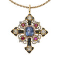 Estate Jewelry:Pendants and Lockets, Diamond, Sapphire, Ruby, Enamel, Gold Pendant-Necklace. ...