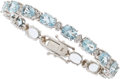 Estate Jewelry:Bracelets, Aquamarine, Diamond, White Gold Bracelet. ...