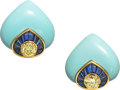 Estate Jewelry:Earrings, Colored Diamond, Sapphire, Turquoise, Gold Earrings, Carvin French. ...