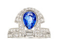 Estate Jewelry:Rings, Art Deco Ceylon Sapphire, Diamond, Platinum Ring . ...