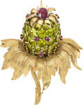 Estate Jewelry:Brooches - Pins, Peridot, Ruby, Platinum, Gold Brooch, Schlumberger for Tiffany & Co., French. ...