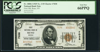 Reno, NV - $5 1929 Ty. 2 First National Bank Ch. # 7038 PCGS Gem New 66PPQ