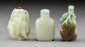Carvings, Three Chinese Carved Jade Snuff Bottles, Qing Dynasty. 3-1/8 x 1-3/4 x 1-1/4 inches (7.9 x 4.4 x 3.2 cm) (tallest, gourd-for... (Total: 3 Items)
