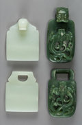 Carvings, Two Chinese Carved Jade Buckles, Qing Dynasty, 18th-19th century. 1-5/8 x 5-1/2 x 7/8 inches (4.1 x 14.0 x 2.2 cm) (larger, ... (Total: 4 Items)