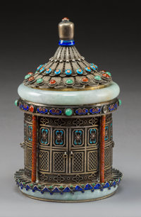 A Chinese Jadeite and Silver Filigree Tea Caddy, Qing Dynasty, 19th century Marks: SILVER 5-3/4 x 3-