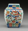 Ceramics & Porcelain:Chinese, A Chinese Wucai Porcelain Square-Form Jar, Transitional Period. Marks: Six-character Jiajing mark in blue underglaze. 4-1/4 ...