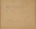 """Books:Original Art, Original Stylized Ink Drawing of Two Grasshoppers attributed to Pablo Picasso. One page, 5"""" x 6"""", n.p. [Paris]; [1919]...."""