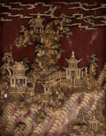 Carvings, A Chinese Carved Hardstone Duan Table Screen Panel. 18 x 14-1/4 x 3/4 inches (45.7 x 36.2 x 1.9 cm) (work). 20-7/8 x 17 x 1-...
