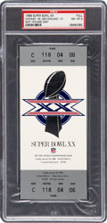 Football Collectibles:Tickets, 1986 Super Bowl XX Full Ticket, PSA NM-MT 8. ...