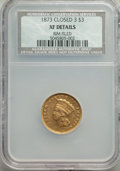 Three Dollar Gold Pieces, 1873 $3 Closed 3 -- Rim Filed -- NCS. XF Details....