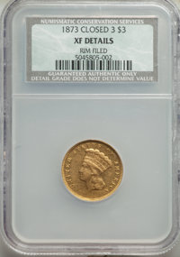 1873 $3 Closed 3 -- Rim Filed -- NCS. XF Details....(PCGS# 7995)